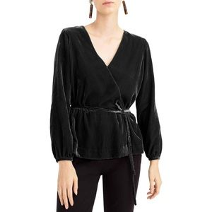 J. CREW Black Faux Wrap Velvet Top SZ 4 TALL NWT